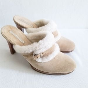 Enzo Angiolini Beige suede mules Size 6.5
